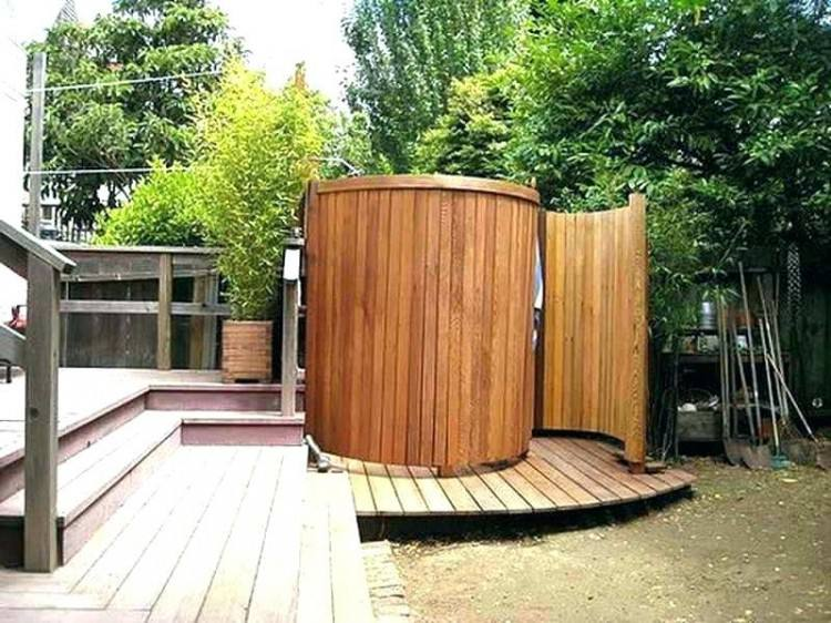 From rustic outside  showers