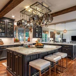 Traditional Kitchen Design With White Kitchen Island And Marble Countertop Also Brushed Nickel Pendant Lamp