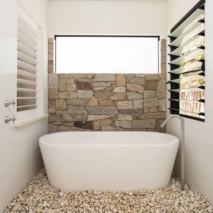 Bathroom Cool Designs Stone Wall