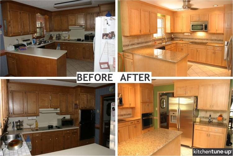 Painted oak cabinet remodel before and after