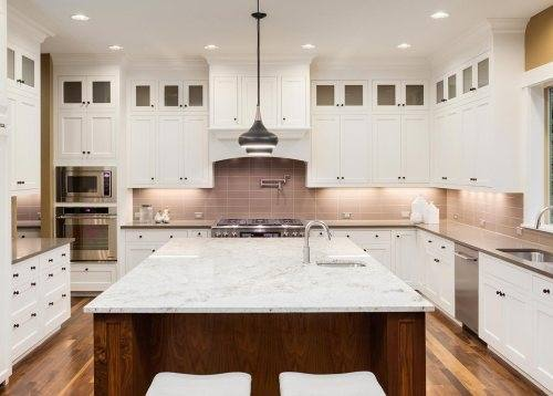 Furniture Long Kitchen Island With Two Tone Cabinets And