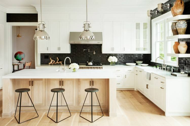 And make it a designers dream kitchen by using beautiful fabric inside of side cabinets