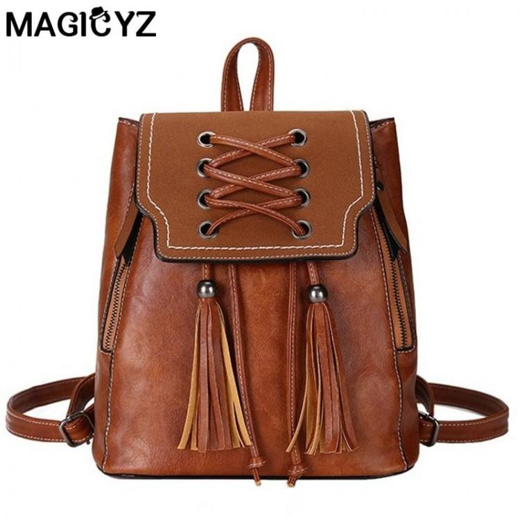 Womens Vintage Backpack PU Leather Handle Bags Long Shoulder Strap Messenger Bags Purse Tote Leisure Bag