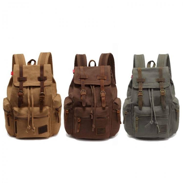 Blue Canvas Vintage Backpack Rucksack Leather Military Men Womens School Bags Girls Mochilas Laptop Backpack Escolares