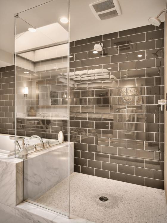 Grey bathroom tile (grey bathroom ideas) #GreyBathroom #Tile #Ideas Tags: Grey bathroom paint grey bathroom cabinets grey bathroom vanity grey bathroom