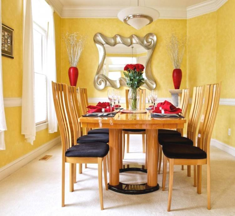 blue and yellow dining room