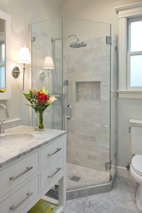 Unusual Farmhouse Bathroom Remodel Decor Ideas #Bathroomideas Like the look of the shower