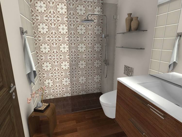 So happy with our craftsman bathroom remodel that includes a walk in shower with classic subway tiles and marble tile floor