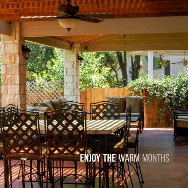 Many people stay inside because they don't have a natural gathering area in the backyard where they can enjoy a meal with the family