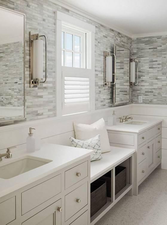 Tile flooring is common in bathrooms