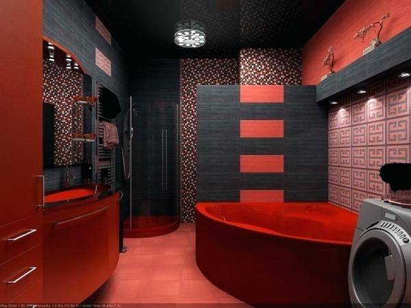 red and gold bathroom ideas