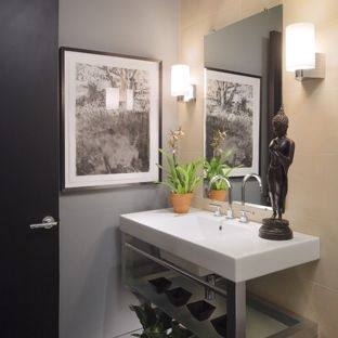 Small Bathroom Storage Ideas Rectangular Dark Brown Varnished Wooden Vanity Cabinet Grey Concrete Stone Polished Floor Stainless Steel Door Handle White