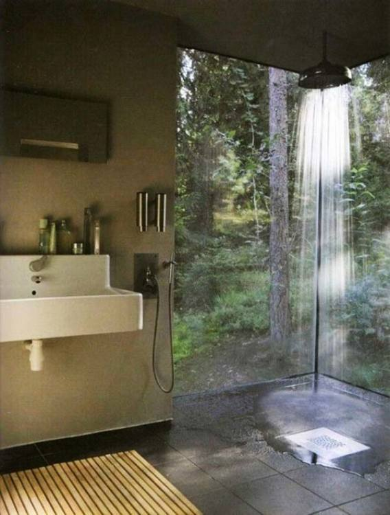 Bathroom Ideas : Small Modern Outdoor Shower Room Ideas With Gray Painted Brick Wall And Simple Wall Mounted Steel Towel Hanger Plus Green Bathroom Plants