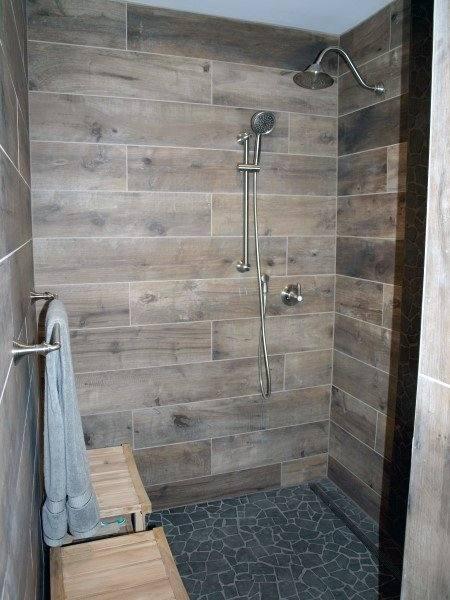 small tiled shower