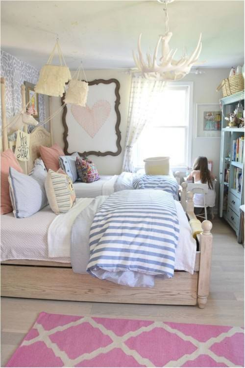 Girl's bedroom in a modern farmhouse