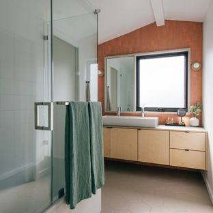 Beautiful bathroom in a small space with no window