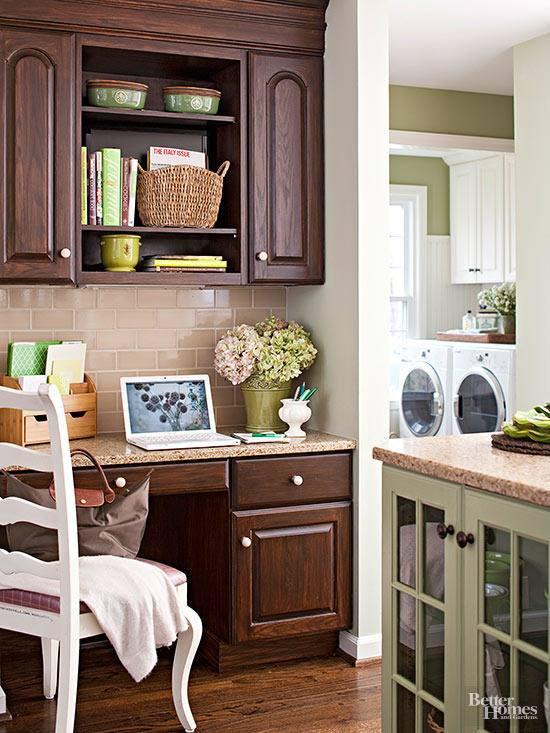 Danville kitchen cabinets in maple pearl with island in alder truffle