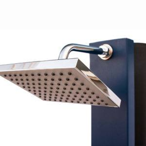 Unlike other solar devices, this shower makes use of the ambient  temperature as well, so that it can be used on cloudy or overcast days