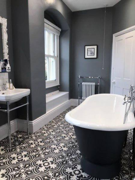 Bathroom ideas/ love how they have the tiles that look like a runner carpet