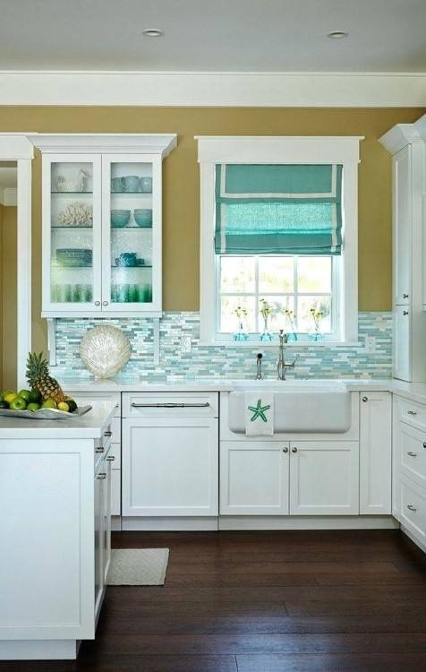 Turquoise Painted Shaker Kitchen Ideas For Turquoise Kitchen Decor And Cabinets With Granite Island Chairs Bookshelf