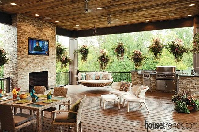 Outdoor fireplaces can be a focal point
