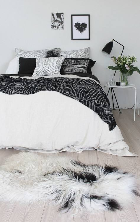 black and white girls bedroom