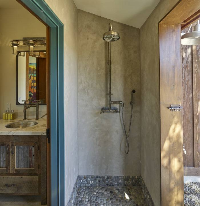 Elaine and Mark McDuffee's outdoor shower in Jamesport is made of Azec