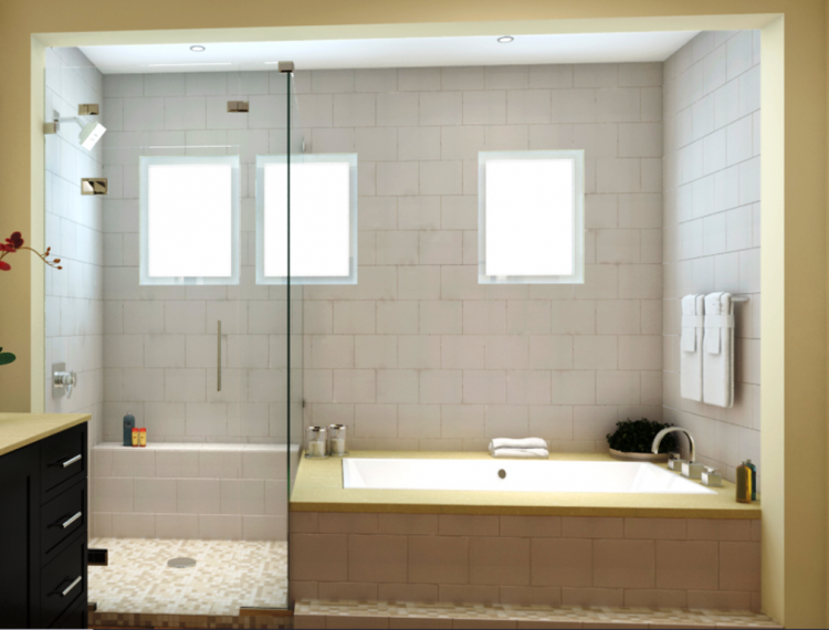 Side by side tub and shower layout in small space