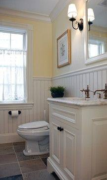 Bathroom, : Cool Small Bathroom Ideas With White Beadboard Wainscoting And Dark Gray Laminate Walls Along With Chrome Bathroom Accessories D